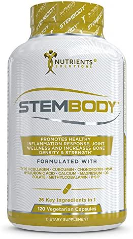 STEMBODY- Advanced Bone and Joint Health Support Supplement - Multivitamins, Calcium, Collagen II, Magnesium, Tumeric Curcumin, MSM, Bromelain, Boswellia, Hyaluronic Acid, Zinc, Vitamin D3,Vitamin B12