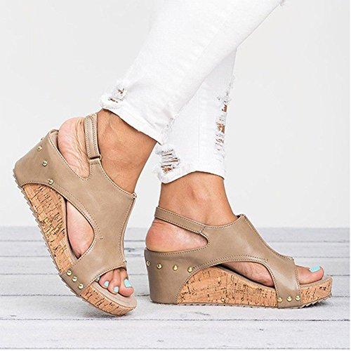 Flock Toe mit Open mit Schnalle einer Sandalen Plattform weit Zehe offener Mädchen Frauen Sandalen Keilabsatz Aprikose Weibliche Sommer Hohe qZnIp