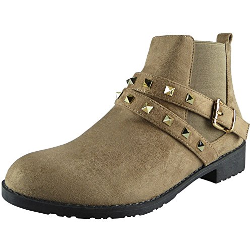 Loud Look Ladies Studded Buckle Low Heel Work Chelsea Ankle Boots Flat Shoes Size 4-8 khaki suede l6U9uLG