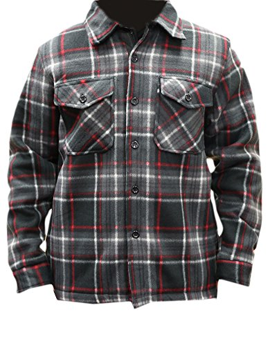 (Woodland Supply Co. Men's Heavy Warm Fleece Sherpa Lined Zip Up Buffalo Plaid Jacket,Large,Black/Red)