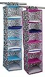 HDS Trading SB49711 6-Shelf Hanging Closet Organizer - Damask Design, Pink