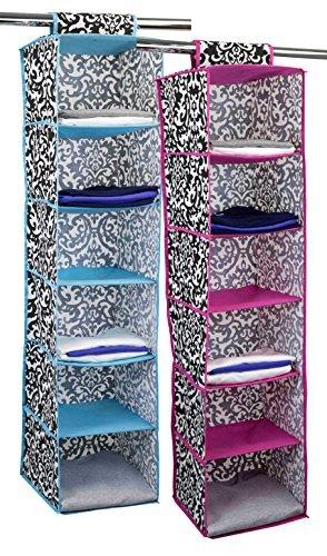 HDS Trading SB49711 6 Shelf Hanging Closet Organizer   Damask Design, Pink