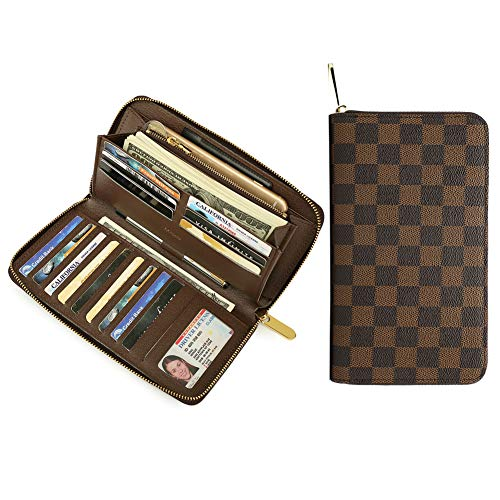 - Miracle Large Capacity Checkered Zip Around Travel Wallet and Phone Clutch - RFID Blocking with Card Holder Organizer for Men Women (Brown)