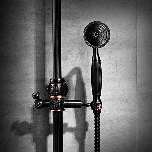BZM-ZM 蛇口ビデエレガントでヨーロッパのレトロ黒彫浴室のシャワーセットの銅アンティークスーパーチャージャーハンドシャワーシステム4関数のラウンドトップスプレー
