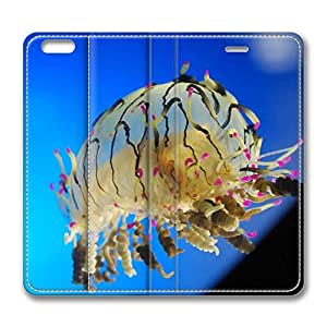 iPhone 6 Plus Case, Fashion Protective PU Leather Flip Case [Stand Feature] Cover Curly Jellyfish for New Apple iPhone 6(5.5 inch) Plus