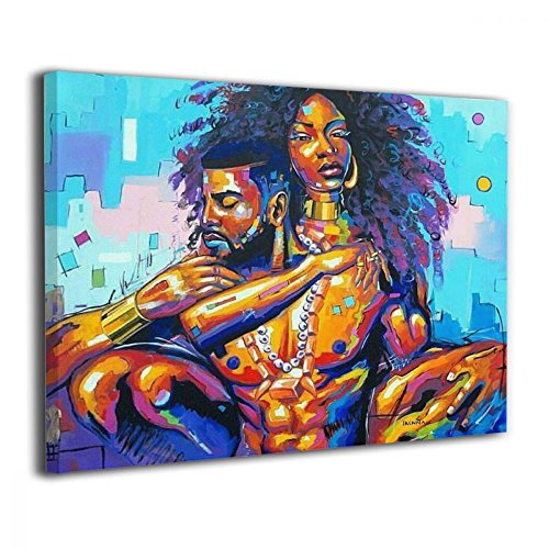 (Okoart Canvas Wall Art Prints African American Lovers Couple Photo Paintings Contemporary Decorative Artwork for Living Room Wall Decor and Home Decor Framed Ready to Hang 16x20inch)