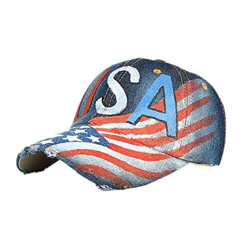 ErYao Unisex America Flag Patriotic Flag Vintage Jeans Adjustable Baseball Cap Cotton Denim Dad Hat (Blue)