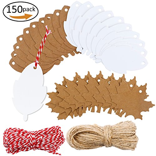 Maple Strings (150 Pieces Maple and Leaf Kraft Gift Paper Tags with 100 Feet Natural Jute Twine for Christmas,Thanksgiving,Holiday Birthday,Wedding,DIY,Arts & Craft Presents (Brown, White))