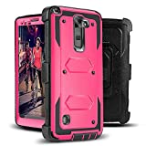 Jwest LG G Stylo 2 (2016 Release) - Heavy Duty Full-Body Rugged Holster Armor Case & Belt Swivel Clip [ Kickstand ] WITHOUT Built-in Screen Protector - Rose