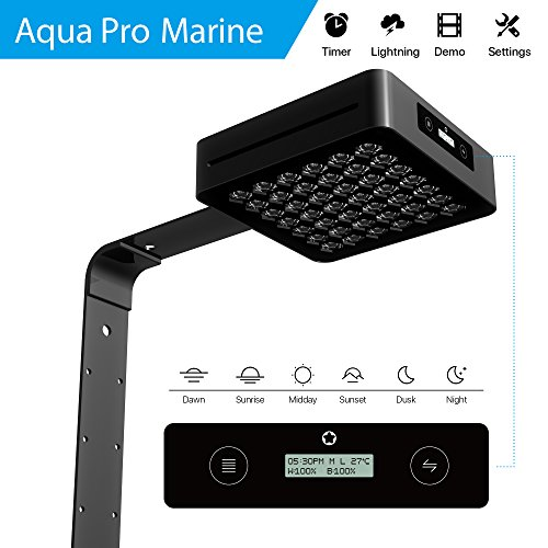 (MICMOL Smart LED Aquarium Light – Aqua Pro 120W Marine Dimmable Programmable Touch Control Full Spectrum for Coral Reef Fish Tank)