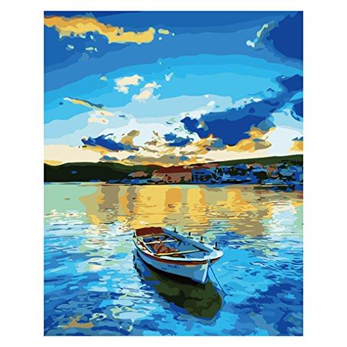 LovetheFamily 数字油絵 数字キット塗り絵 手塗り DIY絵 デジタル油絵 青い湖とボート 40x50cm ホーム オフィス装飾の商品画像