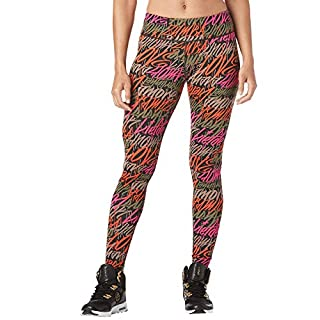Zumba Soft Fitness Wide Waistband Workout Compression Print Leggings for Women, Army Green, S