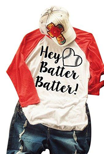 Hey Batter Batter T-Shirt Women Letter Print 3/4 Sleeve Raglan Baseball Tees Blouse Top Size L (White) Baseball Mom Shirt