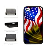 BleuReign(TM) Romania And USA Mixed Flag Plastic Phone Case Back Cover Apple iPhone 4 4s
