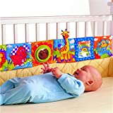 Hosim Baby Crib Cloth Book Animal Puzzle Toys Elephant/Lion/Giraffe/Monkey, Perfect for Kids Infants Education Development - Newborn Rattle Crib Bed Gallery Bumper Pad 6Pcs
