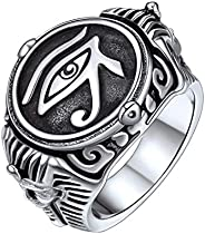 U7 Anel feminino de aço inoxidável banhado a ouro 18K vintage egípcio joia olho de Hórus anel/anel de tornozel