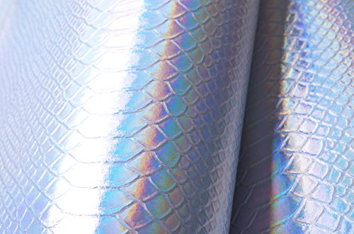 Wento Silver Snake Skin Holographic Fabric,Holographic Snake Skin Fabric,soft Material Holographic Fabric Vinyl Leather.wide 54x 18length