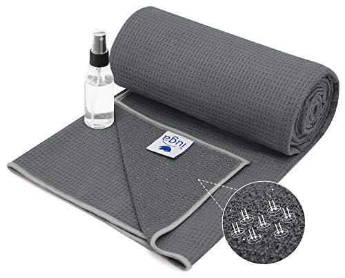 IUGA Yoga Towel for Hot Yoga, Non Slip Silicone Bottom and Stickyfiber for Ultra Grip, Super Soft, Sweat Absorbent Hot Yoga Towel for Pilates and Yoga, Spray Bottle Included
