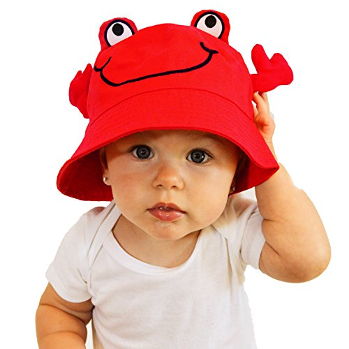 (Huggalugs Children's Red Pinch Me Crab Lobster Sun Hat UPF 50+)