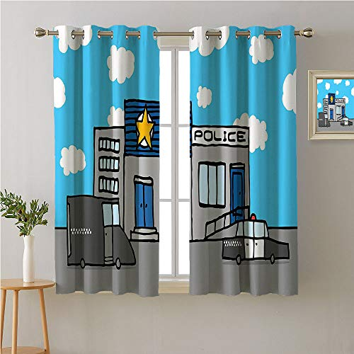(Jinguizi Police Grommets Curtains/Panels/Drapes,Cartoon Police Station with Vehicles and Cloudy Sky Kids Boys Nursery,Home Darkening Curtains,72W x 72L)