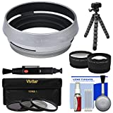 Precision Design AR-X100 Adapter Ring & Hood for Fuji X100 / X100S / X100T / X100F Camera (49mm) + 3 UV/CPL/ND8 Filters + Tele/Wide Lens + Tripod Kit