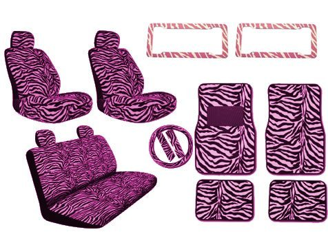 Used, New Premium Style Pink Zebra 17pc Low Back Front Seat for sale  Delivered anywhere in USA