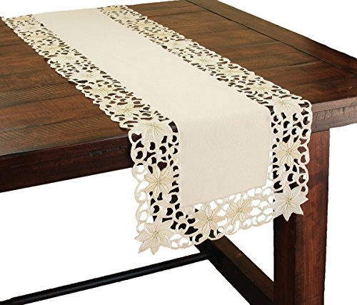 Xia Home Fashions 15 by 72-Inch Noel Poinsettia Cutwork Embroidered Christmas Table Runner (Runner Poinsettia Table)