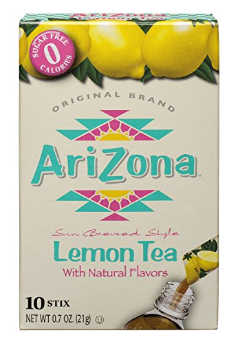 Tea Beverage Ice - Arizona Lemon Iced Tea Stix Sugar Free, 10 Count Per Box (Pack of 12), Low Calorie Single Serving Drink Powder Packets, Just Add Water for a Deliciously Refreshing Iced Tea Beverage