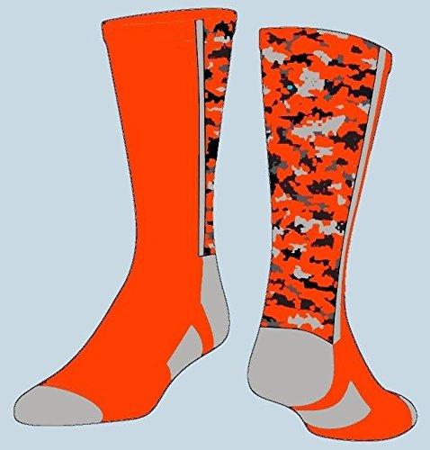 tck sports digital camo crew socks neon orange large