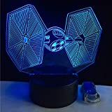 HIOJDWA Night Light Christmas Day 3D USB Led Lamp Toys Cartoon Tie Fighter Desk Lamp Visual Night Light Table Dimmer Kids Gifts
