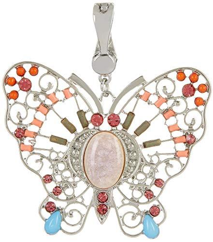- Wearable Art by Roman Silver Tone Butterfly Pendant Multi/Silver Tone