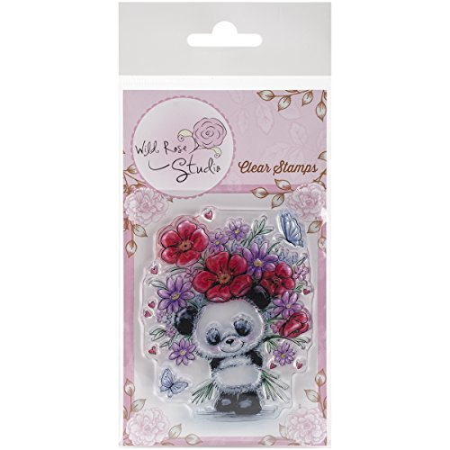(Wild Rose Studio Clear Stamp, 3.5 x 3, Panda with Flowers)