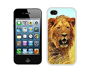 Iphone 4s White Case Amazing Coolest Animal Lion Durable Soft TPU Phone Back Cover for Iphone 4