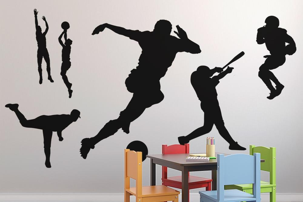 Wallmonkeys GEN-14861-48 WM2787 Black Assorted Sports Silhouettes Peel and Stick Wall Decals (48 in W x 32 in H), x x Large