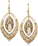 Lauren Harper Collection Over the Moon 18k Gold, Mother of Pearl and Rose Cut Diamond Marquis Earrings