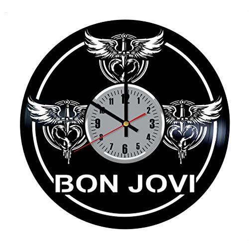 Clock - Bon Jovi Rock Band It's My Life Art Handmade Wall Decor Made of Vinyl Record - Original Gift for Any Occasion ()