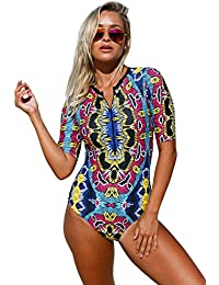 2abd575f584 Womens Zip Front Printed Half Sleeve Long Sleeve One Piece Swimsuit Swimwear