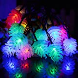Pine Cone Led String Lights,WONFAST Waterproof 20ft 20LED Outdoor Solar Powered Fairy Starry Lights for Gardens Christmas Trees Weddings Parties Indoor Holiday Decoration (Multi-color)