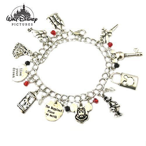 Price comparison product image Disney's Magic Kingdom Mickey Mouse Donald Goofy Characters Cartoon Movie Theme Logo Series Charm Jewelry Bracelet w/Gift Box by Athena Brand