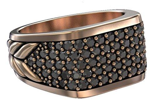 David Yurman Gold Ring (Designer Inspired Pavé Three-Sided Ring with Created Black Diamonds Men's Women Ring Size 9 (Rose Gold))