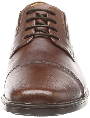 Clarks Tilden Cap - zapatos con cordones de cuero hombre Marrón (Brown Leather)