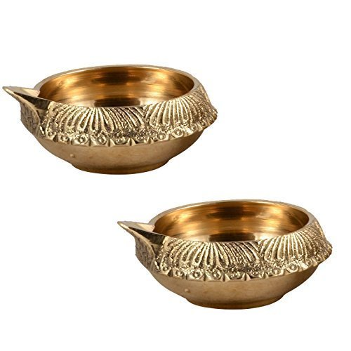 Asiacraft® bella ottone Kuber Diwali Deepak (diya olio lampada) per Puja arredamenti (set da 2)