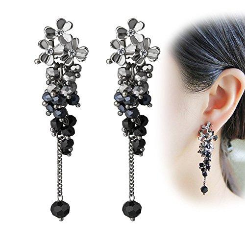 Earrings Flower Drop Crystal (CIShop Elegant Flower Dangle Earrings Crystal Beads Chandelier Earrings Long Drop Earrings For Women (Black))
