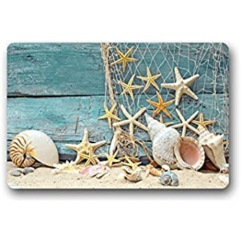 beach theme doormat wooden look summer doormats patio lawn garden. Black Bedroom Furniture Sets. Home Design Ideas