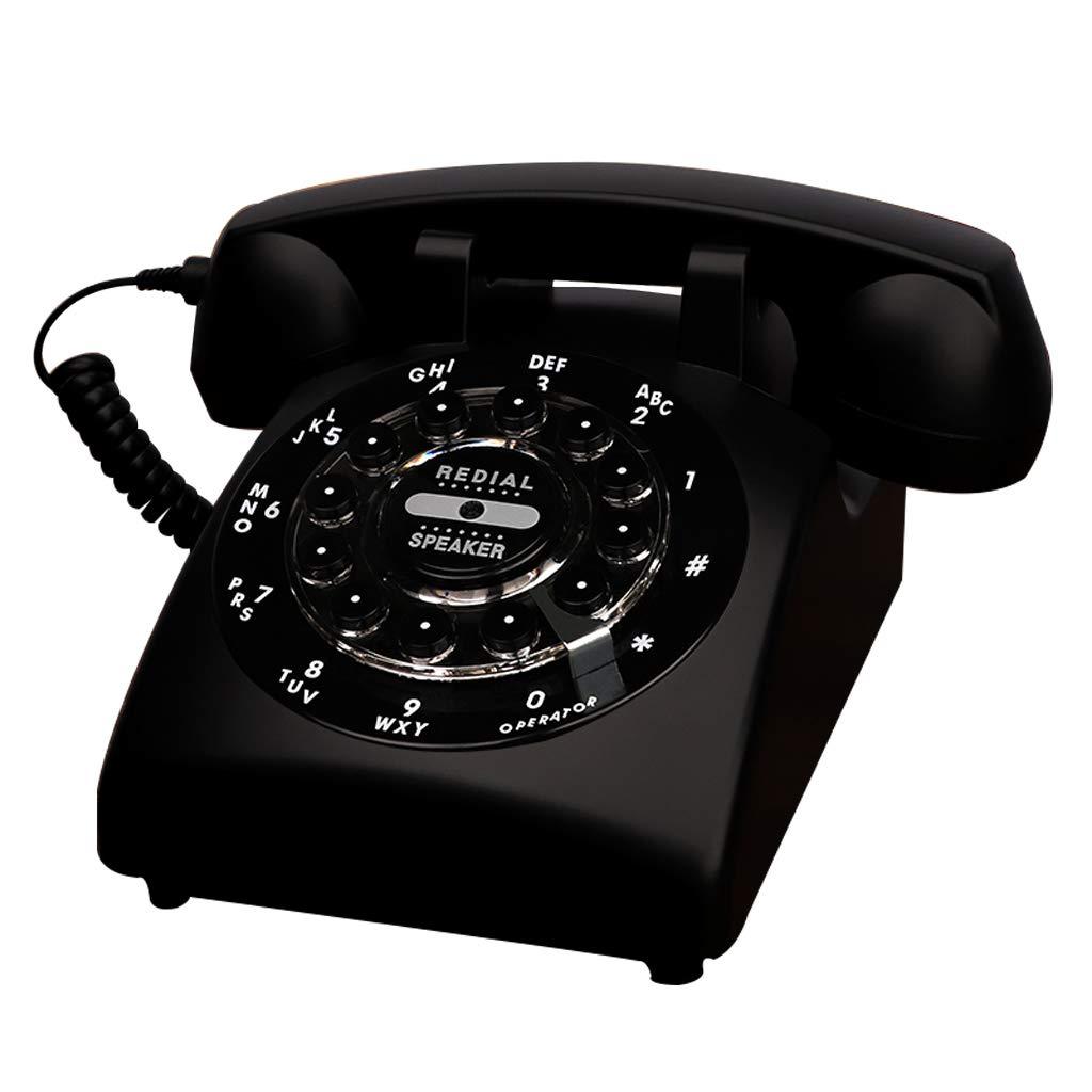 ホーム固定電話、固定式電話専用のレトロなスタイルロータリーボタン番号が付いている古典的な自宅の電話、さまざまな色やスタイルで利用可能 (三 : Off white-Button version) B07J69CYX8 Black-Button version