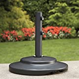 Strong, Sturdy and Duarable Umbrella Base with 2-Piece Adjustable Pole, Two Plastic Ring Inserts, Built in High Density Wheels in Black Powder Coated Finish