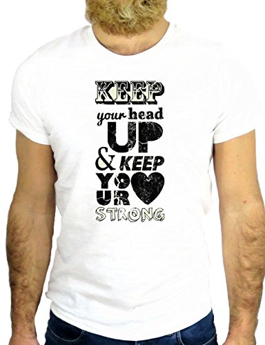 T SHIRT JODE Z2434 KEEP YOU HEAD UP & KEEP YOUR HEART STRONG LOVE USA ROMANTIC GGG24 BIANCA - WHITE L