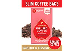 VitaCup Slim Blend Ground Coffee Bags 12oz with Garcinia Cambogia, Panax Ginseng, B Vitamins | Adaptogen Coffee | Keto | Paleo | Vegan | for Drip Coffee Brewers and French Press