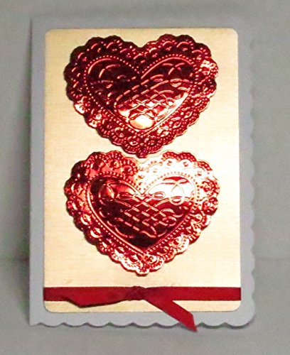 Scalloped Silk - Handmade 3D Red Mirri Silk Embossed Hearts, Gold Textured Linen Background, & White Scalloped Blank Card with Red Ribbon - Limited edition