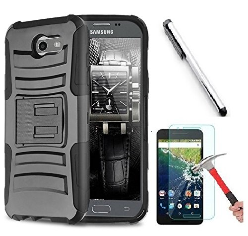 new style 9d47a 43244 Samsung J3 Emerge, Galaxy J3 Prime (MetroPCS), Amp Prime 2 case, Luckiefind  Dual Layer Hybrid Side Kickstand Cover Case With Holster Clip, Stylus Pen  ...